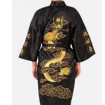 Black Chinese tradition devise Mens robe gown sleepwear with Dragon YF1315