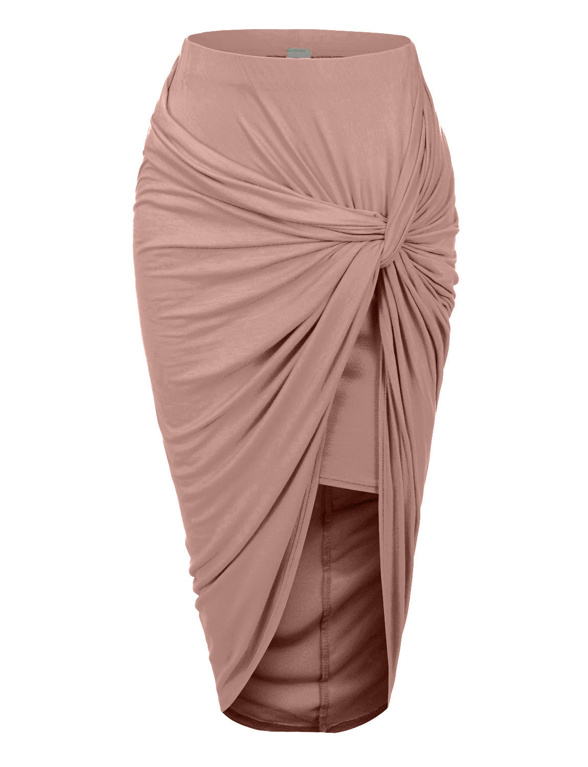 80ab2f396c1 LE3NO Womens Asymmetrical Banded Waist Wrap Cut Out Hi Low Maxi Skirt