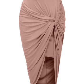 LE3NO Womens Asymmetrical Banded Waist Wrap Cut Out Hi Low Maxi Skirt