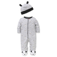 Little Me™ 2-Piece Dalmatian Footie and Hat Set in Grey