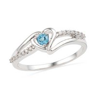 Blue Topaz and Diamond Accent Heart Ring in Sterling Silver - View All Rings - Zales