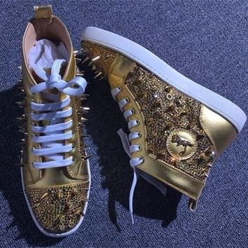 Cl Christian Louboutin Rhinestone Style #1961 Sneakers Fashion Shoes