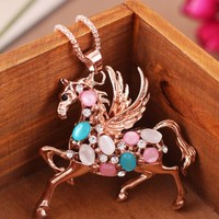 Gemmed Flying Horse Rhinestone Necklace