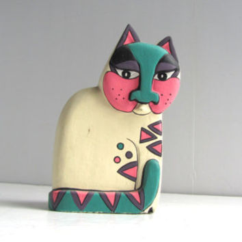Vintage Laurel Burch Wooden Rainbow Cat Figurine
