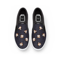 Denim and bee embroidery slip-on - Dior