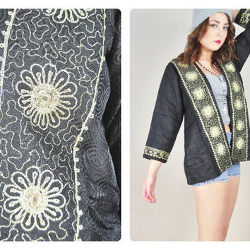 1980s black & gold metallic embroidered mirror india GYPSY BOHO swing kimono mini jacket VINTAGE
