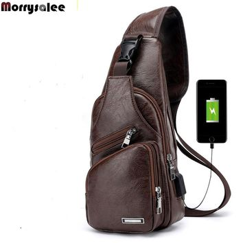 Men's Crossbody Bags Men's USB Chest Bag Designer Messenger bag Leather Shoulder Bags Diagonal Package 2018 new Back Pack Travel