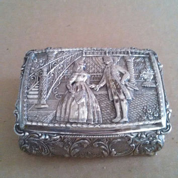 Vintage Silver Jewelry Casket Keepsake box Jewelry Box Ornate Design