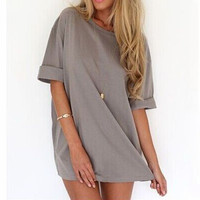 FASHION LOOSE ROUND NECK T-SHIRT