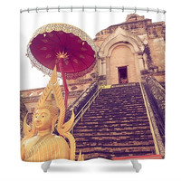 Wat Temple Chiang Mai Thailand Asian Inspired Polyester Fabric Shower Curtain