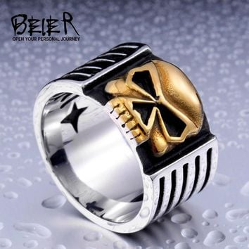Beier new store 316L Stainless Steel ring high quality fashion biker skull ring personality men jewelry  LLBR8-112R