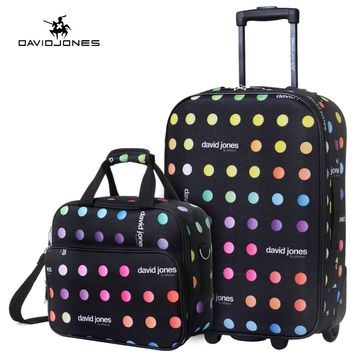 DAVIDJONES 2 PIECE 20 inches carry-on luggage fixed wheels cabin suitcase vintage trolly valise cabine