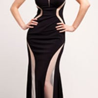 Black Illusion Cut Out Halter Dress Prom 2015