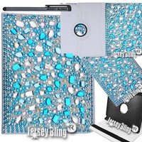 Jersey Bling® Ipad 2/3/4 Case With HUGE 3D Gems, Crystals & Rhinestones on Leather 360 Rotating Folio with built in stand (Blue)