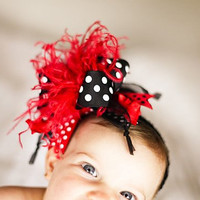 Red Black and White Girls Baby Over The Top Boutique Hair Bow on Matching Headband Free Shipping On All Addional Items