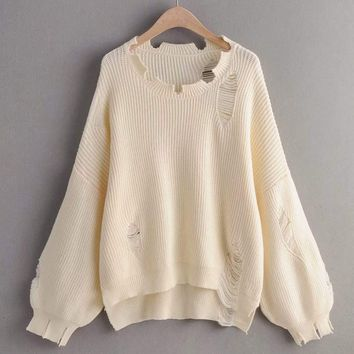 Bishop Sleeve Ripped High Low Oversized Sweater