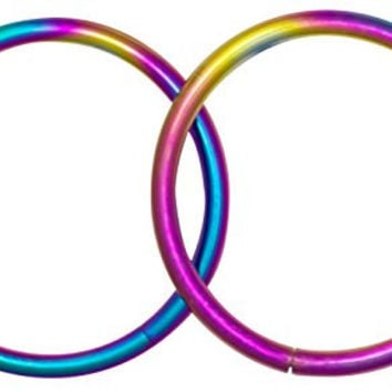 "Pair of 2 Rings: 16g 7/16"" Surgical Steel Rainbow Titanium IP Segment Hoop Circular Barbell Earrings"