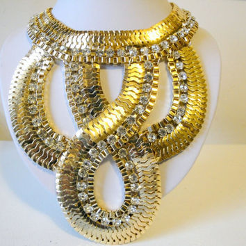 Free Shipping: Egyptian Necklace, Cleopatra Necklaces, Large Statement Necklace, Gold, Chain, Rhinestones, Jewelry