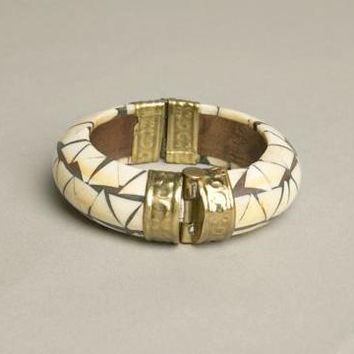 Hinged Pin Cuff Bones Brass Bracelet Vintage Jewelry Handmade in India