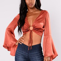 Current Mood Bell Sleeve Crop Top - Rust