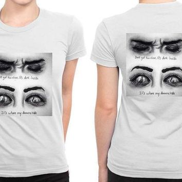 CREYH9S Imagine Dragons Demons Two Eyes B 2 Sided Womens T Shirt