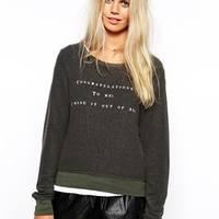 Wildfox Baggy Beach Sweatshirt With Congratulations Bed Print - Gray