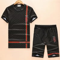 Boys & Men Gucci Shirt Top Tee Shorts Set Two-Piece