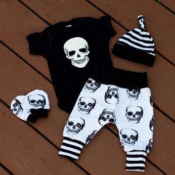 4pcs Newborn Infant Baby Boys Skull Clothes Bodysuit +Pants Trousers Outfits Set Size 0-18M