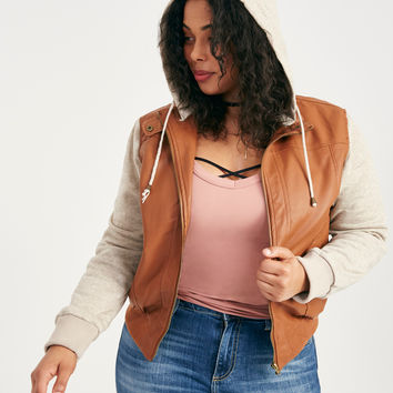 Plus Size Vegan Leather Fleece-Sleeve Bomber Jacket | Wet Seal Plus
