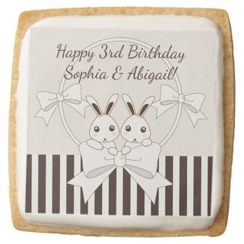 Cute Bunny Girl Twins Classic Kids Birthday Square Shortbread Cookie