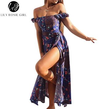 Lily Rosie Girl Off Shoulder Purple Boho Floral Print Split Dress Summer Beach Sexy Bow Backless Maxi Long Dresses Vestidos