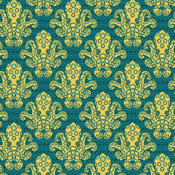 Damask Coral Reef Blue-Ringed Octopus Fabric Printed by Spoonflower BTY