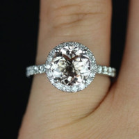 14kt White Gold Traditional Morganite Round Halo w/ Flush Classic Gallery Engagement Ring (Other metals and stone options available)
