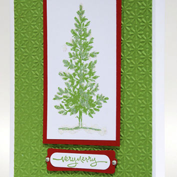 Glittery Decorated Green Christmas Tree With Red Trim Handmade Card