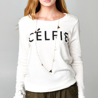 LONG SLEEVE CELFIE SWEATER - WHITE