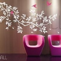 FREE SHIPPING Spring Branch Tree with birds Decal by NouWall