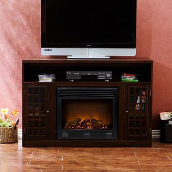 Southern Enterprises FE9301 Narita Espresso Media Console with Electric Fireplace