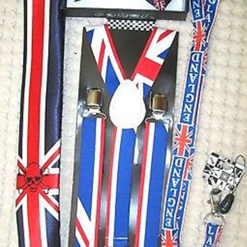 UK British Flag Y-Back Suspenders,UK Lanyard,UK Neck Tie & UK British Bow Tie-14
