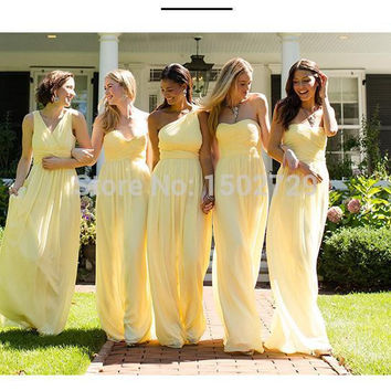 Custom Made Mixed Styles Yellow Bridesmaid Dresses Chiffon Long Floor Length Brides Maid of Honor Dress Wedding Party Gowns