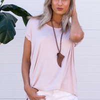 Toya Rolled Up Sleeve V-Neck Tee - Blush