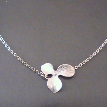 Single Orchid Silver Necklace, Flower Charm Pendant, Bridal Necklace, Birthday Gift, Bestfriends Jewelry by Crystalshadow on etsy