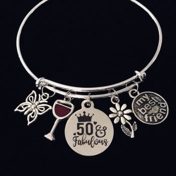 My Best Friend Fifty and Fabulous 50th Birthday Jewelry Adjustable Charm Bracelet Silver Expandable Bangle One Size Fits All Gift 50 Birthday Gift Butterfly Daisy