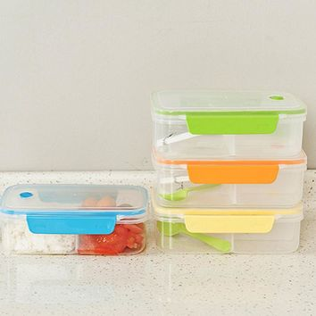New Transparent Three Compartments Lunch Bento Food Box Snack Container Storage lunchbox color random