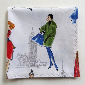 "City Chic Hanky / 11.5"" Pocket Square / Modern Handkerchief with European Flair / Gift for Fashionista / Anne Tavoletti for Kaufman Fabric"