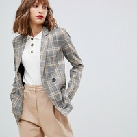Stradivarius Yellow Check double breasted blazer at asos.com