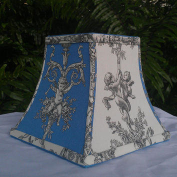 Lamp Shade Chandelier Cherubs Square Bell Blue Off-White Black Cotton Toile Style Fabric Blue Grosgrain Ribbon Handmade Trim Torpedo Clip