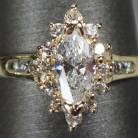 Vintage Diamond Engagement Ring Marquise Diamond Ring Diamond Cocktail Dinner Ring Halo Marquise Ring 14k Diamond Ring .50 Carats Total