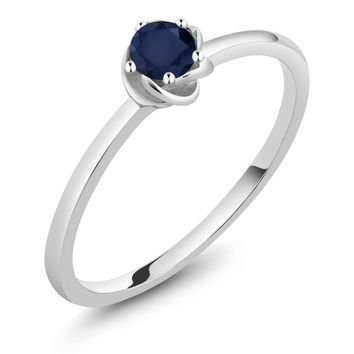 Blue Sapphire 10K White Gold Solitaire Engagement Ring
