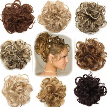 Fashion Natural Curly Messy Bun Hair Piece Scrunchie New Natural Hair Extensions