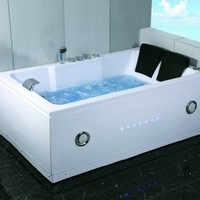 2 Two Person Indoor Whirlpool Massage Hydrotherapy White Bathtub Tub with BLUETOOTH UPGRADE, FREE Remote Control and Water Heater